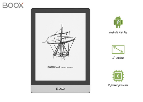 BOOX Poke 2, 6'' Android 9.0, OctaCore, 2GB+32GB, Wi-Fi 2.4G/5Ghz, Bluetooth e-bralnik