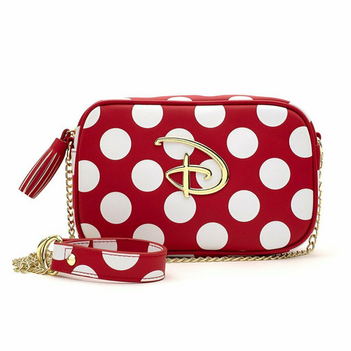 LOUNGEFLY LF RED/WHT POLKA DOT DISNEY LOGO TORBICA