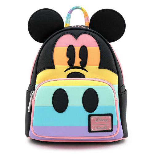 LOUNGEFLY LF DISNEY MICKEY MOUSE PASTEL RAINBOW MINI BACKPACK